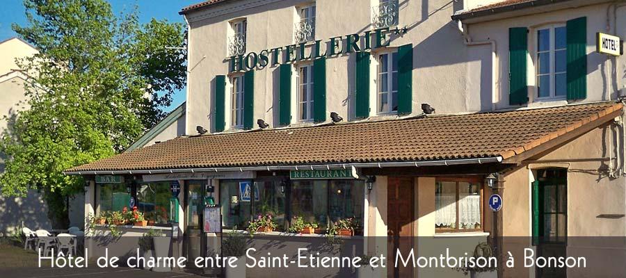 Façade Hostellerie des Voyageurs à Bonson, près de Saint Etienne.
